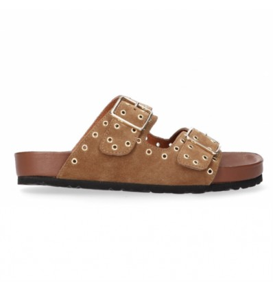 TANGO - Anky suede/gold eyelets slipper - black sole