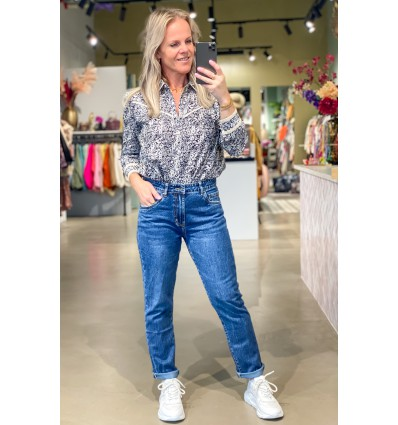 Mom fit jeans donker blauw